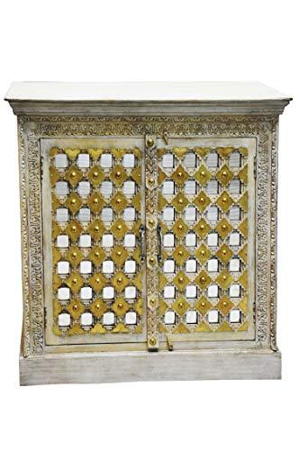 Orientalische Kommode Sideboard Lasmina 95cm Shabby Weiss | Orient Vintage Kommodenschrank orientalisch Handverziert | Indische Landhaus Anrichte aus Holz | Asiatische Möbel aus Indien