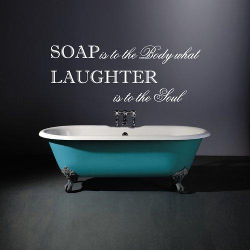 Grand-de-Savon-est-pour-le-corps-CE-QUE-LE-rire-est--la-Soul-salle-de-bain-Graphic-Art-Autocollant-mural-citation-en-Chambre-Cuisine-Salle-de-bain-Bureau