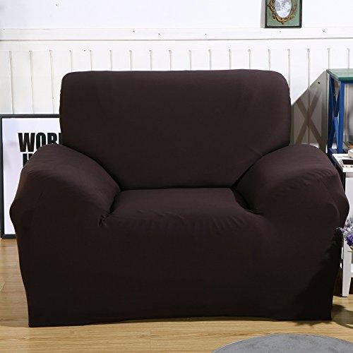 ele ELEOPTION Sofa Überwürfe Sofabezug Stretch Elastische Sofahusse Sofa Abdeckung in Verschiedene Größe und Farbe (Dunkelbraun, 1 Sitzer für Sofalänge 90-130cm) (Dunkelbraun Sessel)