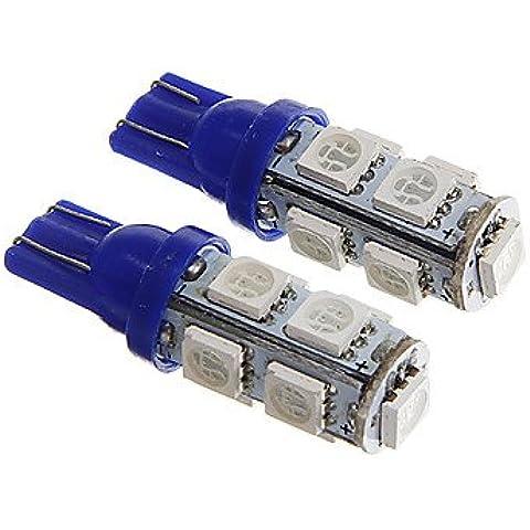 FULLModerna auto lampadina T10 strumento 1W 9x5050SMD LED blu 90LM / segnale di girata DC12V (Girata Del Lato Del Segnale Indicatore Luminoso)