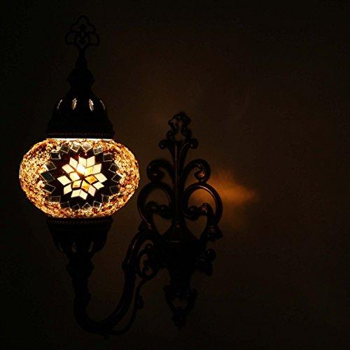 Glas Wandleuchte Globen (Wandleuchte Turkische Mosaik Wandlampe, Atemberaubende marokkanischen Stil Handgefertigt mit groen (14 cm) Glaskugel von TK Bazaar)