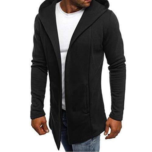 Dwevkeful Pullover Herren Hooded Trench Coat Jacket Cardigan Outwear Blouse Blusen Sweatshirt Tops Kapuze Hoodie Kapuzenpullover Herbst Und Winter Button-down Trench Coat