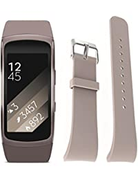 Malloom Silicona reloj repuesto banda correa para Samsung Gear Fit 2 SM-R360 Wristband, Tamaño S (caqui)