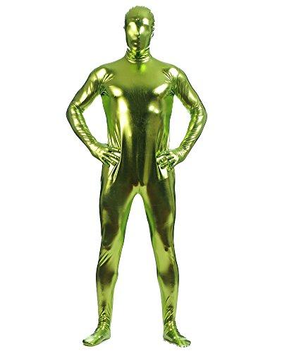 Shiny Ganzkörperanzug Ganzkörperanzug Anzug Suit Kostüm Gras Grün L (Silber Morph Anzug)