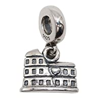 """Solid 925 Sterling Silver""""Dangling Roman Colosseum"""" Charm Bead European Style Dangle Charm"""