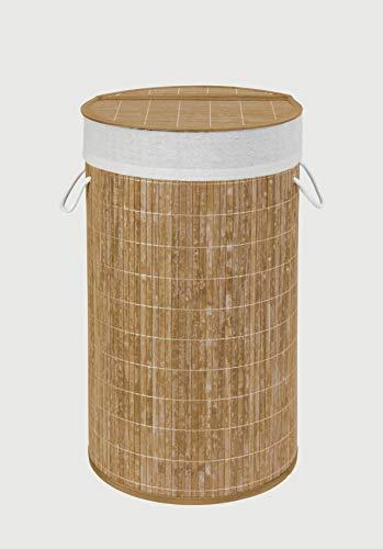 Wenko Bamboo Cesto para la Ropa de Bambú, Marrón, 35x35x60 cm