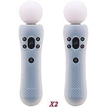 Pandaren® TACHONADO de silicona cubierta Fundas de piel antideslizante para el controlador PS VR MOVE moción x 2 (blanco)