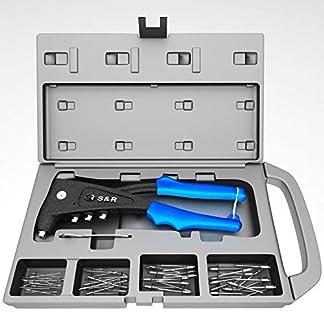 Remachadora Profesional con 60 remaches (2.4 mm, 3.0 / 3.2 mm, 4.0 mm, 4.8 / 5.0 mm) en aluminio y acero inox para remaches ciegos, 4 boquillas, 1 llave, 1 maletín de almacenamiento.