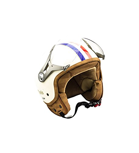 SOXON SP-325 Paris · Chopper Retro Roller-Helm Helmet Mofa Biker Bobber Jet-Helm Cruiser Scooter-Helm Motorrad-Helm Vespa-Helm Vintage Pilot · ECE zertifiziert · mit Visier · inkl. Stofftragetasche · Beige · XS (53-54cm)