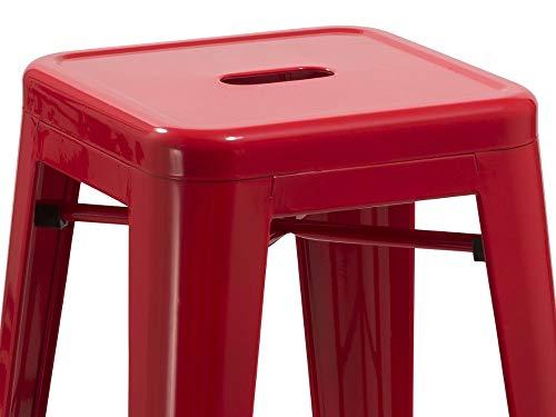 Duhome sgabello da bar in metallo rosso impilabile altezza del