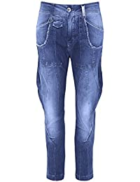 High Femmes Bronco Cropped Jeans Pinstripe Bleu 42