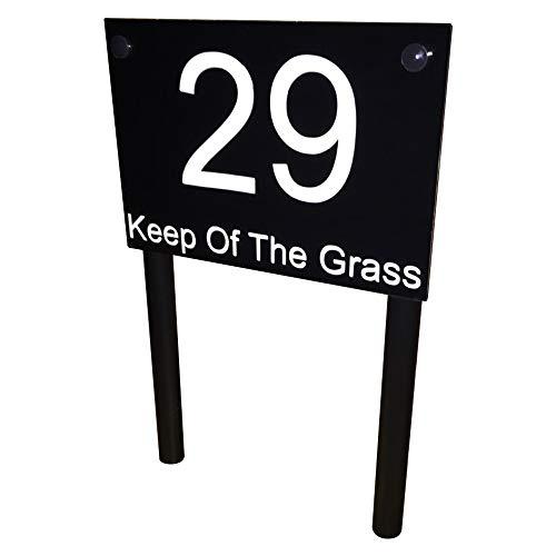 Freistehend Modern House Hausnummer Adresse Plaque Erdspieß Rasen Schild glänzend schwarz