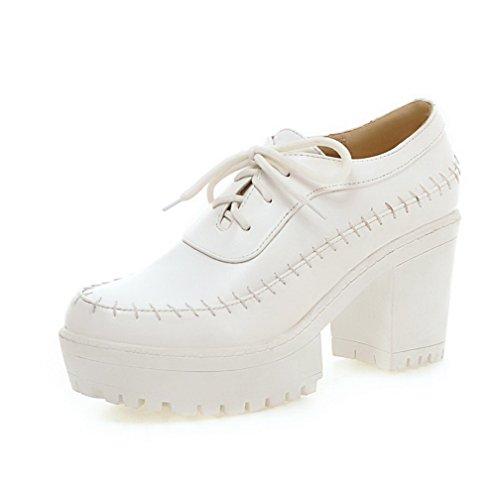 AgooLar Femme Couleur Unie Matière Souple à Talon Haut Lacet Rond Chaussures Légeres Blanc