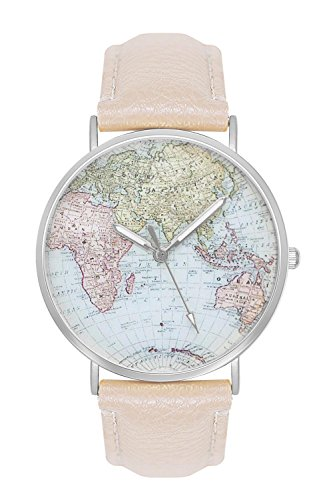 Kostüm Welt (Damenuhr Herrenuhr Unisex Armbanduhr Damen Herren Quarz Uhr Farbe Silber + verschiedene Armbandfarben Design Weltkarte Globus Landkarte Karte Welt Lederarmband Mesharmband Metallarmband Mesh)