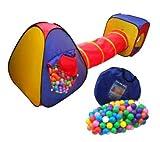 Eu-Markt Kinderzelt mit Tunnel 200 Bälle Spielzelt Bällebad Pop Zelt Krabbeltunnel ROT-GELB-BLAU Variante 1