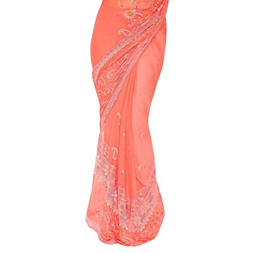 Craftsvilla Chiffon Saree With Blouse Piece (FKMS207-9004 Peach_Peach_Free Size)