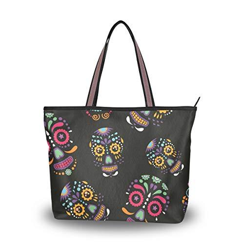 Emoya Damen Schultertasche Schultertasche Sugar Skulls Floral Top Handle Satchel Handtasche L, Mehrfarbig - multi - Größe: Medium