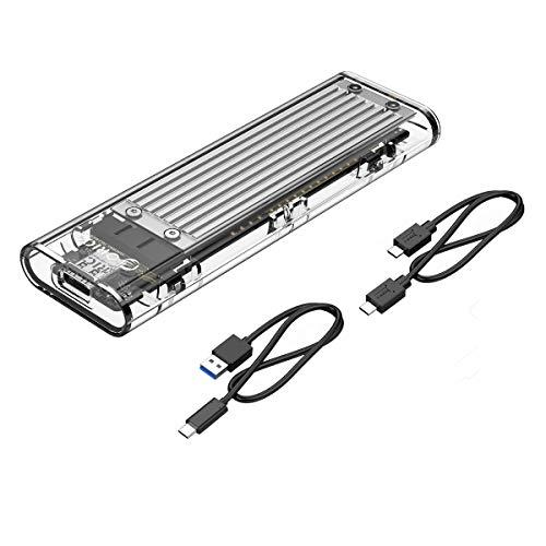 ORICO NVME M.2 zu Type-C USB3.1 Gen2 10 Gbps transparentes externes Festplattenlaufwerk-Adaptergehäuse für 2280 PCI-E M2-M-Key-SSD, USB-Typ-C-Konvertergehäuse mit C zu C und C zu A-Kabel (Silber)
