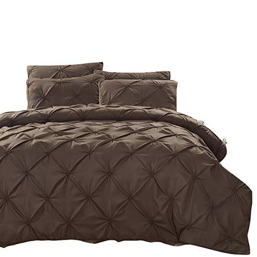 Brown Solid Kissenbezug Set (AISHUAIGE Bettbezug Set Silk Flower Solid Color 3 Stück Bettbezug und Kissen ohne Bettwäsche, Brown, 200 * 230)