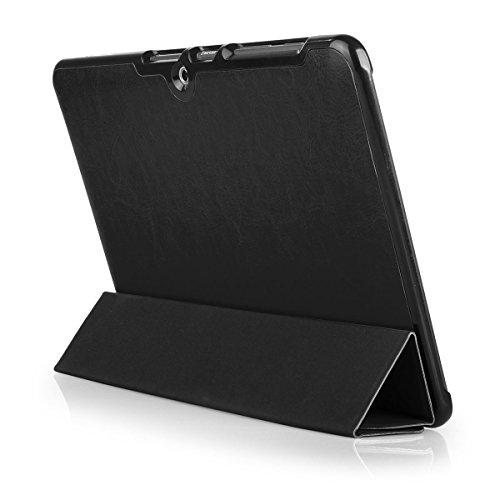 EGO® Funda Inteligente Doble Protección para Samsung Galaxy Tab 2 10.1 P5100 Negro Slim Smart Tablet Case Smart Cover Etui con función de