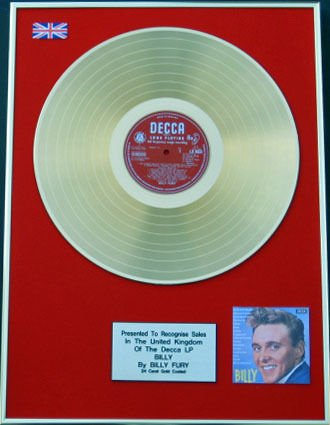 Billy Fury, in oro 24 carati, design Billy di disco LP