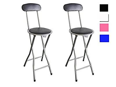 FiNeWaY@ FOLDING BREAKFAST PADDED BAR CHAIR STOOL KITCHEN PARTYOFFICE STOOL SEAT( SET OF 2 ) - low-cost UK bar stool shop.