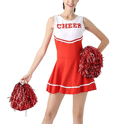 Daytwork Performance Tanzen Kostüm Mädchen - Damen High School Musical Cheerleading Uniform Sport Fancy Kleid Cheerleader Tanz Kleidung Party Bühne mit Pom Poms (High School Tanz Kostüme)