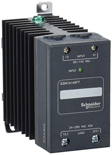 Schneider SSM1A145F7 Halbleiterrelais, Hutschiene, E: 90-140 Vac, A: 24-280 Vac, 45 A, 1PH., Nullsp