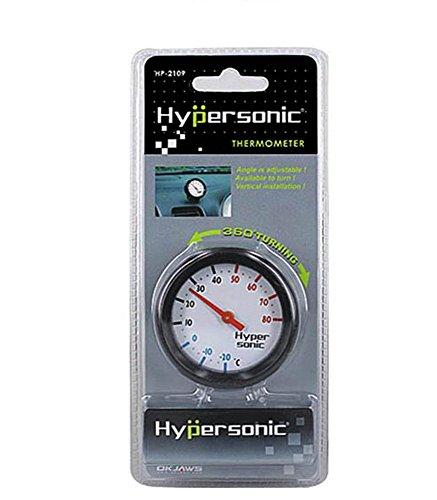 Hypersonic® HP-2109 Universal THERMOMETER Racing Design SCHWARZ 360° drehbar fürs Auto PKW LKW Termometer