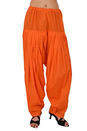 Stylenmart Women Cotton Solid Full Patiala Salwar (Stmapa078626 _Orange _Free Size)