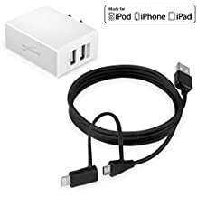 BoxWave Motorola Hint qa30-micro Cable USB y conector Lightning certificado Apple con adaptador doble encendedor de coche con Lightning Kit de cable de carga USB y cargador alta intensidad para Motorola Hint QA30(5m, Negro, Color blanco)