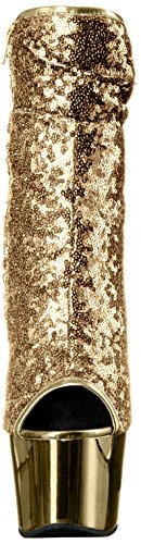 Pleaser DELIGHT-1008SQ (Gold Sequins/Gold Chrome)