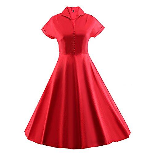 Damen Kostüme 1940's (iLover 50s Retro vintage Rockabilly kleid Hepburn Stil shirt Partykleid)