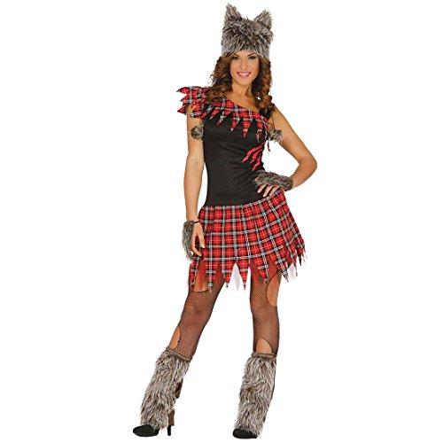 Halloweenkostüm Werwölfin Werwolf Kostüm Damen S 36/38 Frauenkostüm Wolf Frauenkostüm Wolf Horrorparty Outfit sexy (Outfits Wolf)