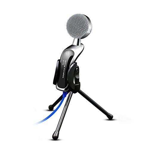 KAXIDY Professionelles Kondensator-Mikrofon Schall Podcast Studio Microphone mit Stativ für Skype PC Mac Laptop Computer