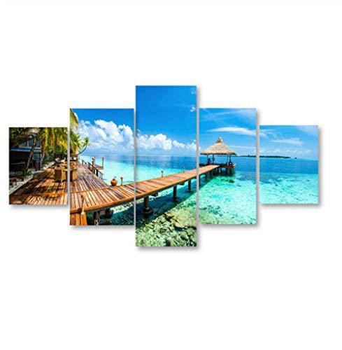 GLORIOUS.YY Bilder Wandbild Vlies - Leinwand Bilder - Ozean-Strand-Natur-Wind-Landschaft - Wandbilder Wohnzimmer Wohnung Deko - 5 Teilig - Fertig Zum Aufhängen 100X55Cm