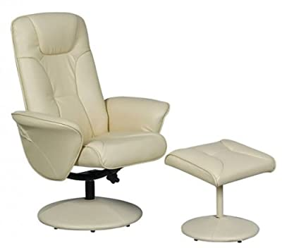 Turin Swivel Recliner Chair Reclining Armchair with FREE Matching Footstool - low-cost UK chair store.