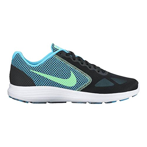 Nike Men's Nike Revolution 3 Running Shoe, Chaussures de Fitness homme Multicolore (Black/electro Green-chlorine Blue-white)