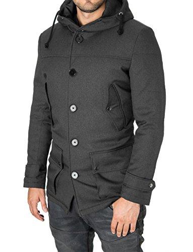 Parka Mantel Herren Winter Slim Fit von MODERNO (MOD13533C) Dunkelgrau