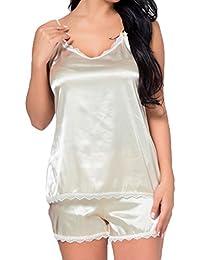 Hibote Ajuste Slim Fit Cami Top y Short Mujeres Sexy Conjunto de Pijamas Soft Sleepwear Lace Spaghetti Strap Ropa…