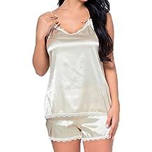 Hibote Ajuste Slim Fit Cami Top y Short Mujeres Sexy Conjunto de Pijamas Soft Sleepwear Lace