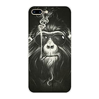 Aksuo for iPhone 7 Plus Case,Women Girls boy Men Printed Transparent Clear Design Plastic Case with TPU Bumper Protective Cover,Orangutan Monkey with Sunglasses