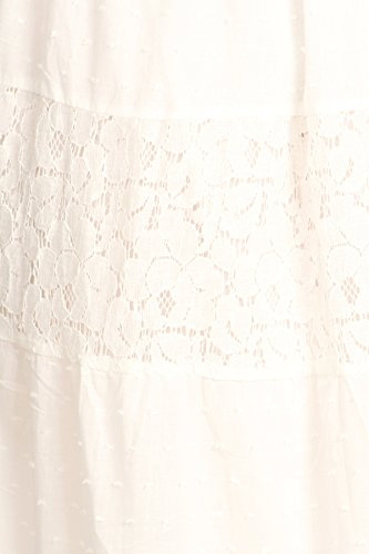 Anna-Kaci donna Abito stile Boho vestito lungamente smockato in pizzo increspato di pizzo impero Bianco sporco