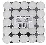 2x100 Stück Teelichter (200 Stück), weiß, unbeduftet, Ø 3,8 cm, Brenndauer ca. 4 Std.