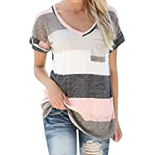 Areshion - Camiseta para mujer con cuello de pico, a rayas, manga corta
