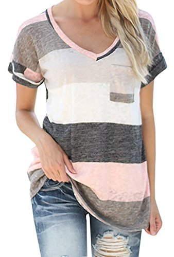 ARESHION Women's V-neck Striped ...