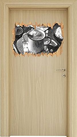 heisse Schokolade mit Zuckerstange Kunst Kohle Effekt Holzdurchbruch im 3D-Look , Wand- oder Türaufkleber Format: 62x42cm, Wandsticker, Wandtattoo, Wanddekoration