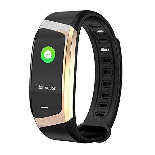 YSCYLY Fitness-Tracker Bluetooth GPS-Herzfrequenz-Messgerät Blutdruck-Schrittzähler IP67 Wasserdichte gesunde Schlafüberwachung,Black