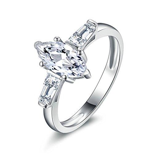 (Personalizzati Anelli)Adisaer Anelli Donna Argento 925 Anello Fidanzamento Incisione Gratuita Ovale Doppio Anello Diamante Taglia 13 - 14k Dell'anello Indiano