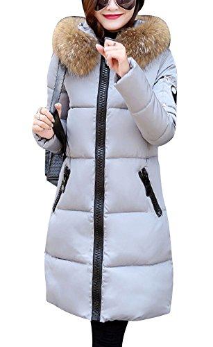 LaoZan Donna Cappotto Inverno Spesso Caldo Con Cappuccio Pelliccia Ecologica Lungo Giacca Trapuntata Grigio XL